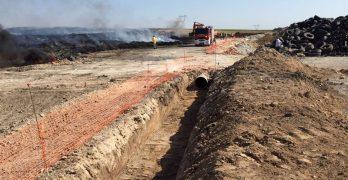 Zanjas perimetrales para contener arrastre de cenizas por lluvia en Seseña