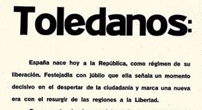 15 de abril de 1931: el bando municipal que anunció en Toledo la proclamación de la República