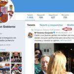 La Delegación de Gobierno de Castilla-La Mancha apoyó en Twitter la campaña de Cospedal tras cesar el anterior delegado del PP