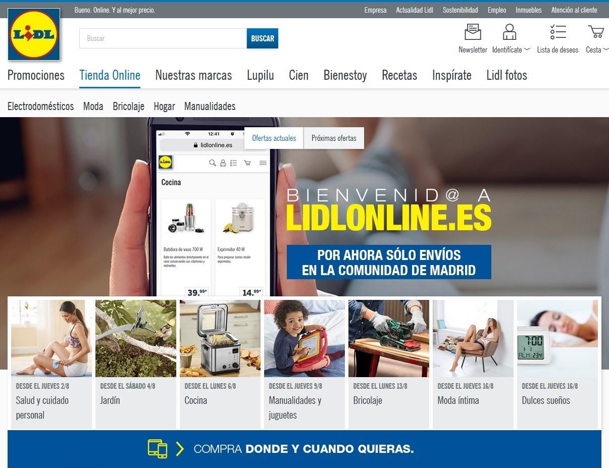 0698e5379c La cadena de supermercados Lidl desembarca en el 'ecommerce' con el  lanzamiento de su tienda 'online' en Madrid para vender productos de sus  marcas propias ...