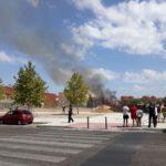 Incendio en el recinto de la piscina cubierta en el barrio toledano del Polígono