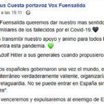 La concejala de Vox en Fuensalida cita a Hitler para animar a luchar contra el coronavirus