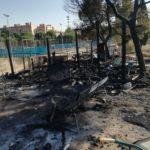 GALERÍA | Vandalismo e incendio en el huerto comunitario del Polígono