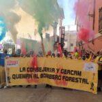 «Por los montes, no más recortes»: nuevas protestas de los bomberos forestales de GEACAM en Toledo